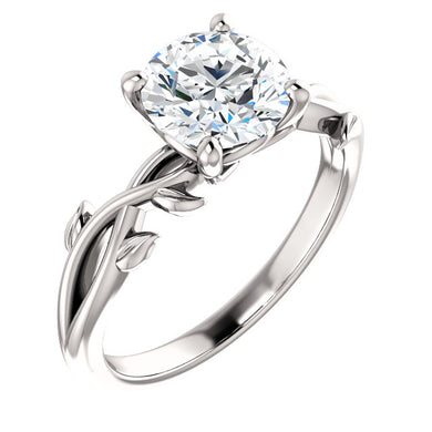 Round Brilliant Solitaire Leaf Design Engagement Ring