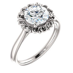 Round Brilliant Solitaire Antique Inspired Design Engagement Ring