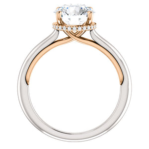 Round Brilliant Solitaire & Hidden Halo Engagement Ring - I Heart Moissanites