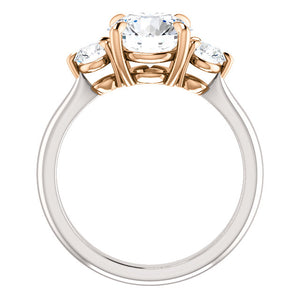 Round Brilliant Accent Engagement Ring - I Heart Moissanites