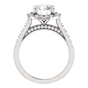 Round Brilliant Halo Style Engagement Ring - I Heart Moissanites
