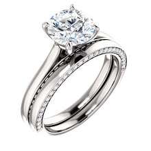 Round Brilliant Solitaire & Hidden Diamond Band Engagement Ring - I Heart Moissanites
