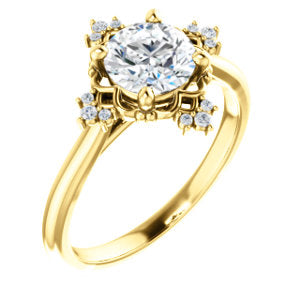 Round Brilliant Diamond Antique Inspired Design Engagement Ring