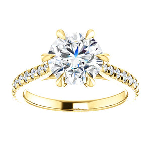 Round Brilliant Six Claw Set Style Engagement Ring - I Heart Moissanites