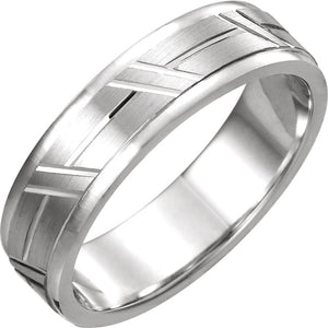 Men's Patterned Wedding Band - I Heart Moissanites