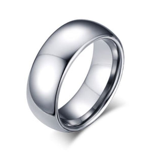 Tungsten Silver Polished Comfort Fit Men's Ring