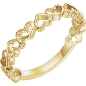 14K Gold Heart Ring - I Heart Moissanites