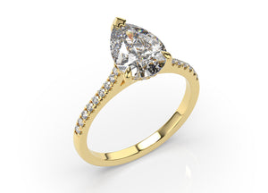 Pear Three Claw Hidden Halo Engagement Ring