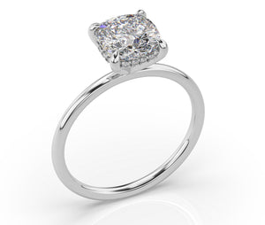 Cushion Hidden Halo Thin Band Solitaire Engagement Ring