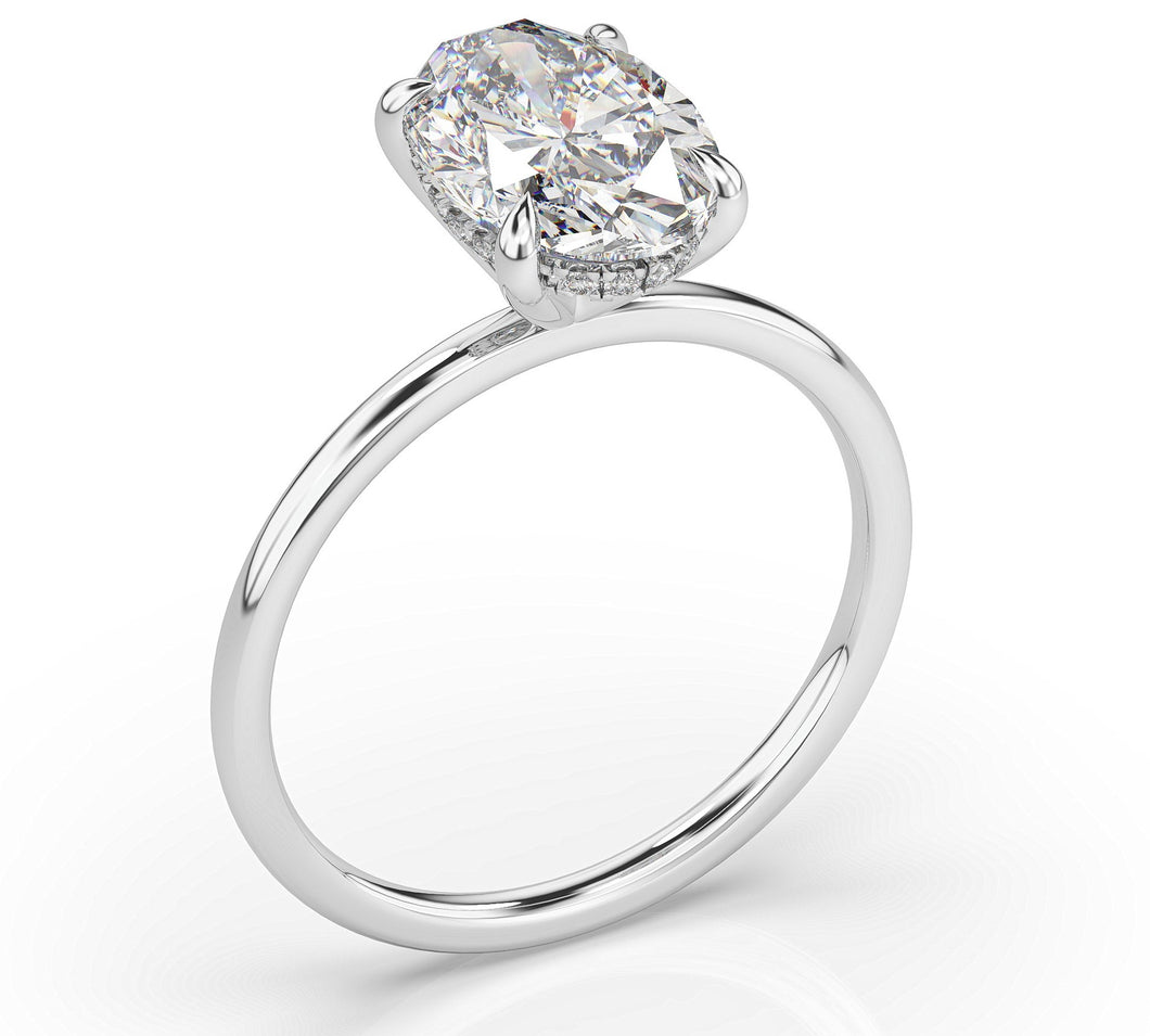 Oval Hidden Halo Thin Band Solitaire Engagement Ring