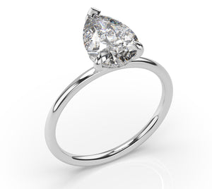 Pear Hidden Halo Thin Band Solitaire Engagement Ring