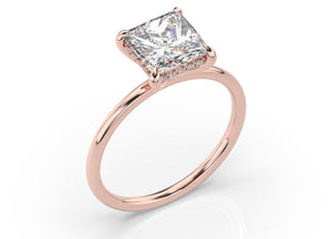 Princess Hidden Halo Thin Band Solitaire Engagement Ring