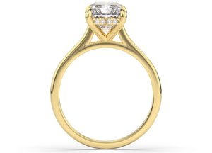 Radiant Hidden Halo Thin Band Solitaire Engagement Ring