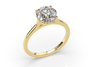Round Brilliant Hidden Halo Thin Band Solitaire Engagement Ring