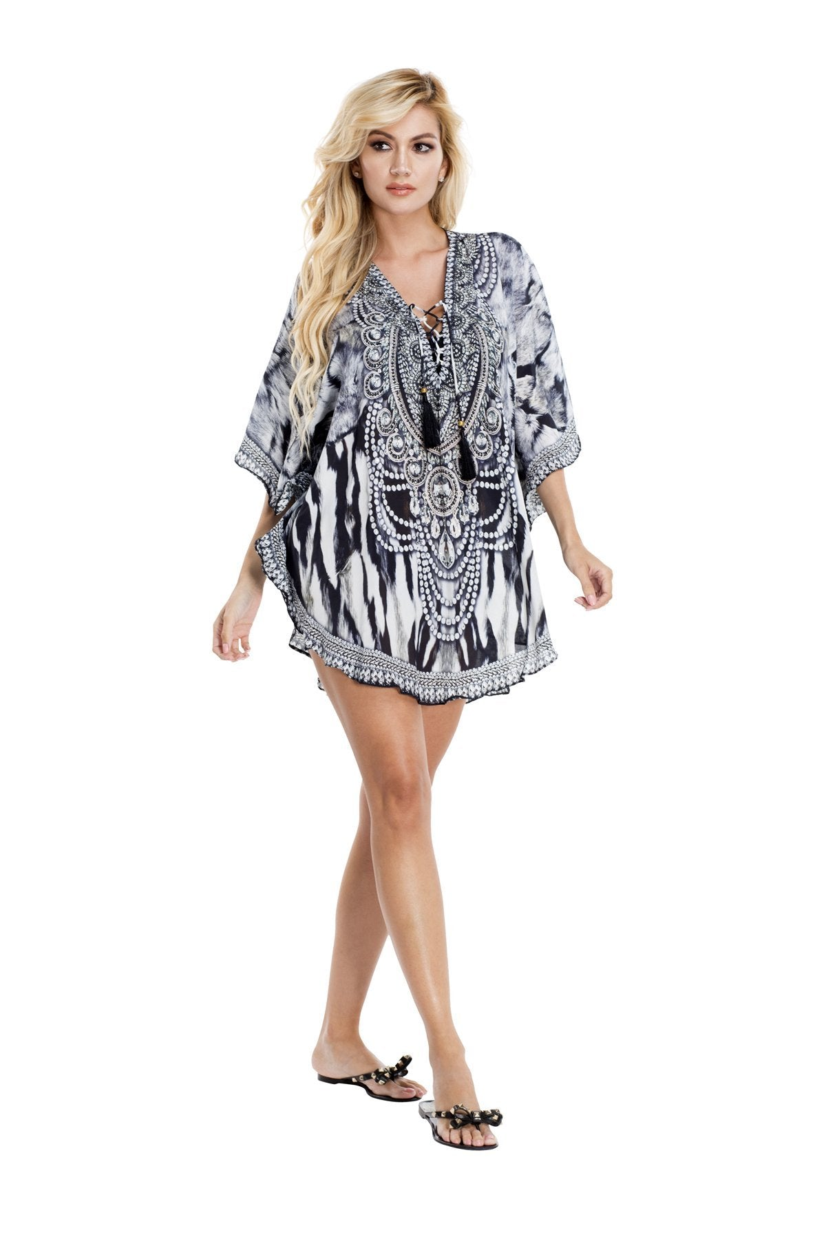 Evelyn Embellished Kaftan Top