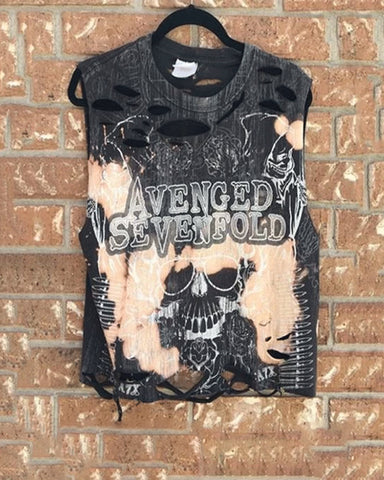 Street Round Neck Broken Hole Printed Vest