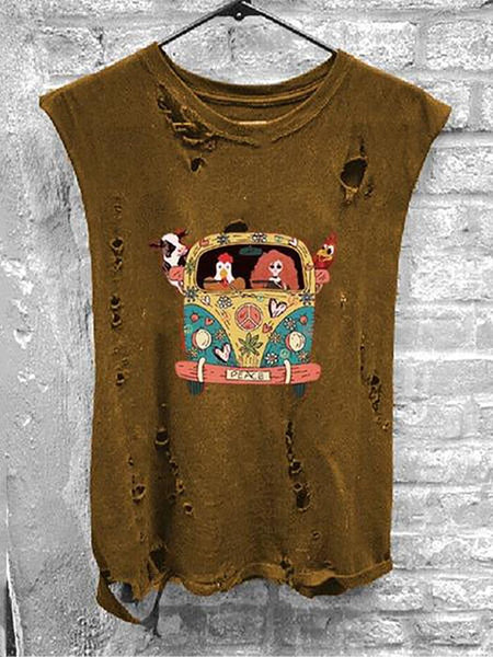Round Collar Sleeveless Printed Broken Hole Distressed T-Shirt