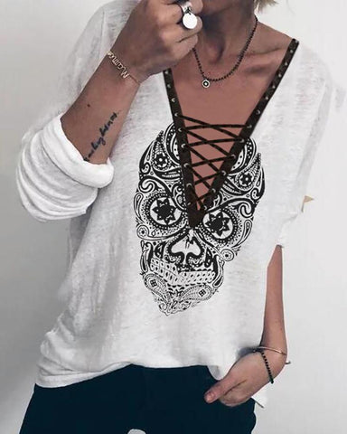 Casual V Neck Long Sleeve Printed Colour T-Shirt