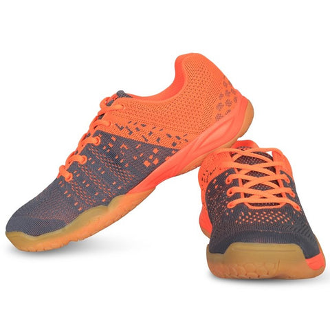 Vector X Men's Grey and Orange Mesh Court Shoes - Best Price online Prokicksports.com