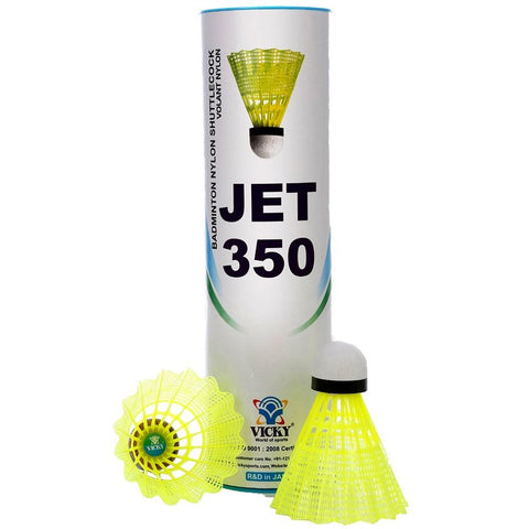 Vicky Jet 350 Nylon Shuttlecock, Pack of 6 (Yellow) - Best Price online Prokicksports.com