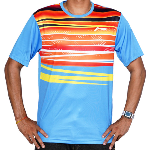 Li-Ning Sweat Absorbing Round Neck Badminton T-Shirt - Blue - Best Price online Prokicksports.com