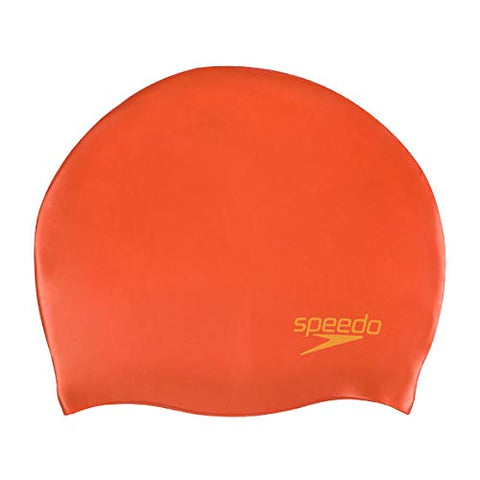 Speedo Junior Plain Moulded Silicone Cap, Red/Yellow - Best Price online Prokicksports.com
