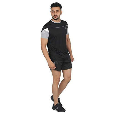 Vector X Men's Round Half Sleeves T-Shirt Black - Best Price online Prokicksports.com