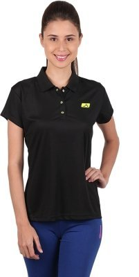 Vector X Women's Solid Polo Neck T-Shirt VTDF-008B Black (Small) - Best Price online Prokicksports.com
