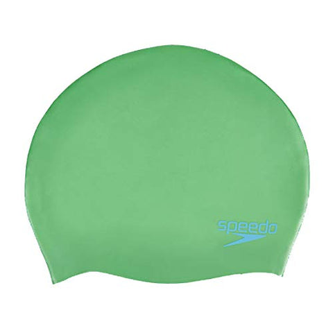 Speedo Junior Plain Moulded Silicone Cap, Green/Blue - Best Price online Prokicksports.com