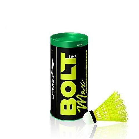 Li-Ning Bolt Max (3 in 1) Nylon Badminton Shuttlecocks (Yellow) - Best Price online Prokicksports.com