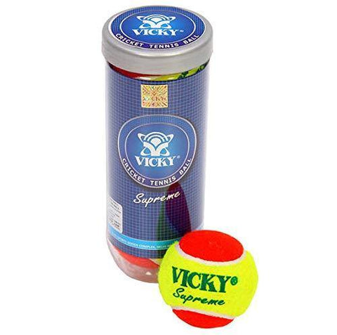 Vicky Cricket Tennis Ball - Supreme, Double Colour - Prokicksports.com