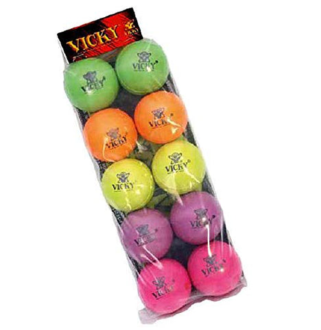Vicky Cricket Rubber Play Ball, Pack of 10 (Assorted Colors) - Best Price online Prokicksports.com