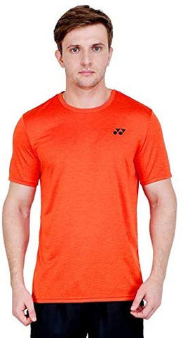 Yonex Tru Dry Round Neck Badminton Sports T-Shirt, Red Orange - Best Price online Prokicksports.com