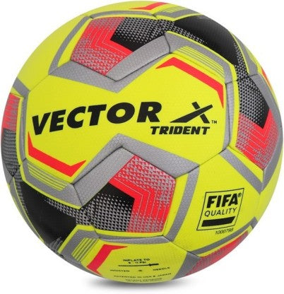 Vector X Thermo Fusion Trident Rubberised Football, (Yellow/Red/Black) Size 5 - Prokicksports.com