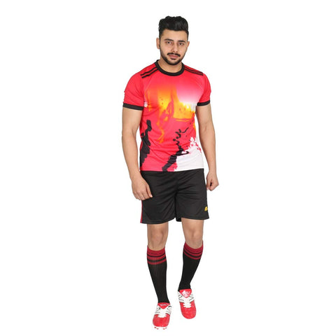 Vector X Football Set (T-Shirt & Short) VFS-GERMANY (Red-Black-Yellow) - Best Price online Prokicksports.com
