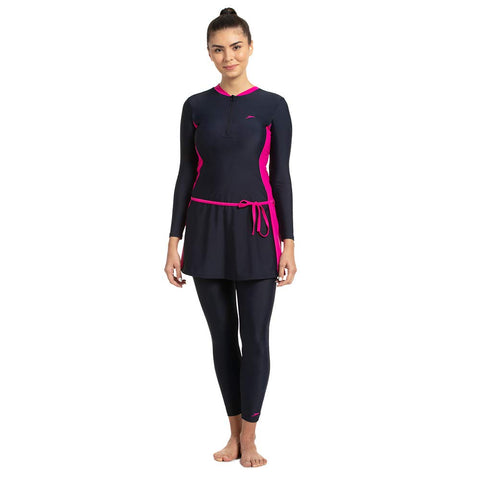 Speedo Female Two-Piece Full Body Suit For Women (True Navy/Electric Pink) - Best Price online Prokicksports.com