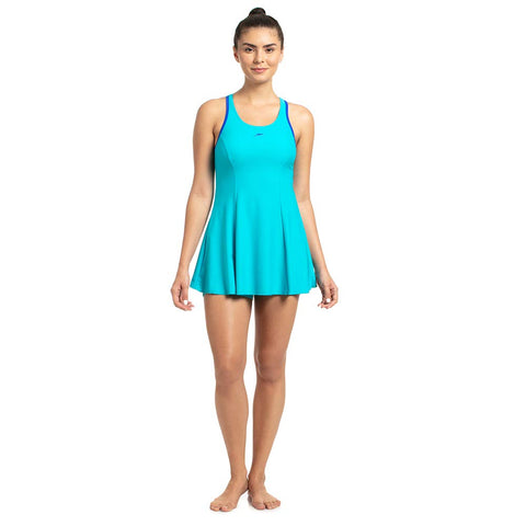 Speedo Racerback Swimdress With Boyleg For Women (Adriatic/Beautiful Blue) - Best Price online Prokicksports.com