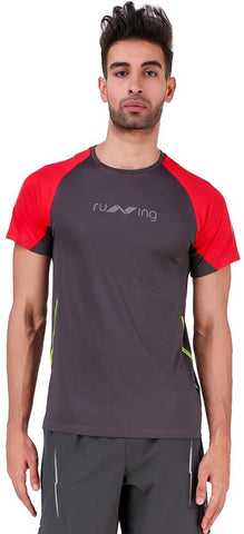 Nivia 2251-1 Oxy-5 Polyester Running T-Shirt (Grey/Scarlet Red) - Best Price online Prokicksports.com