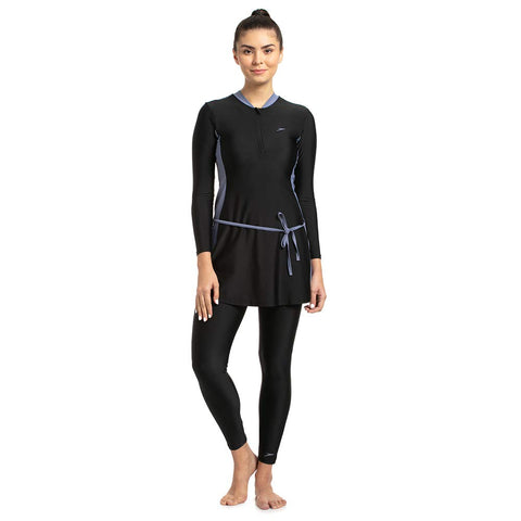 Speedo Female Two-Piece Full Body Suit For Women (Black/Vita Grey) - Best Price online Prokicksports.com