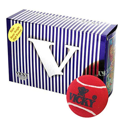 Vicky Cricket Tennis Ball - Heavy, Maroon - Prokicksports.com