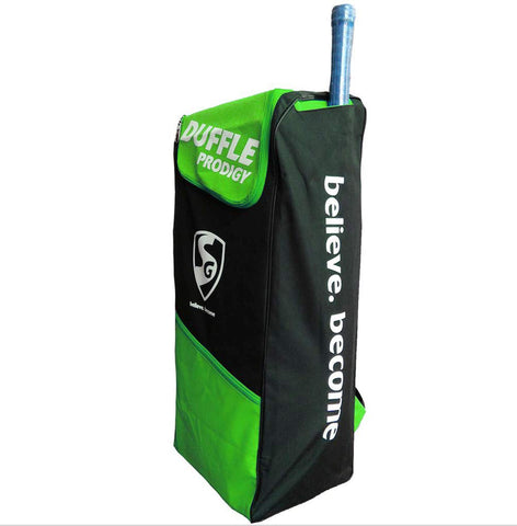 SG Duffle Prodigy Cricket Kit Bag, Black/Green - Prokicksports.com