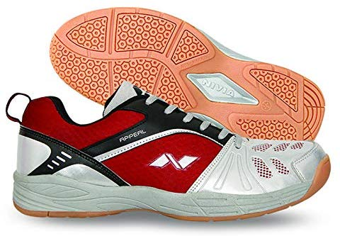 Nivia 155 Appeal Badminton Shoes (Maroon/Silver) - Best Price online Prokicksports.com