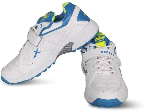 Vector X CKT-200 Mesh Cricket Shoes (White-Blue-Green) - Best Price online Prokicksports.com