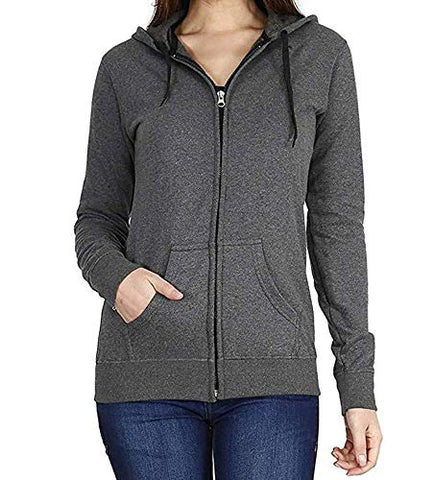 Prokick Women's Cotton Sweatshirt/Hoodie - Dark Grey - Best Price online Prokicksports.com
