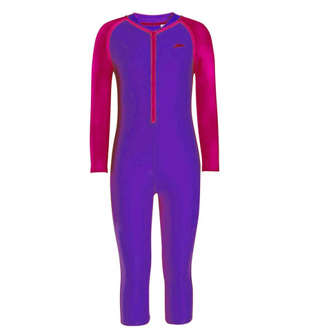 Speedo Girl's Swimwear Color Block All-in-1 Suit -Royal Purple/Electric Pink - Best Price online Prokicksports.com