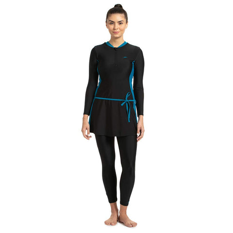 Speedo Female Two-Piece Full Body Suit for Women, Black/Nordic Teal - Best Price online Prokicksports.com