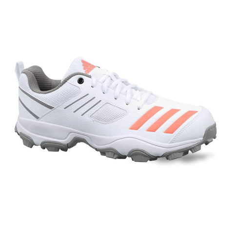 Adidas CM6007 Rubber Spikes Cricket Shoes, White/Grey/Orange - Best Price online Prokicksports.com