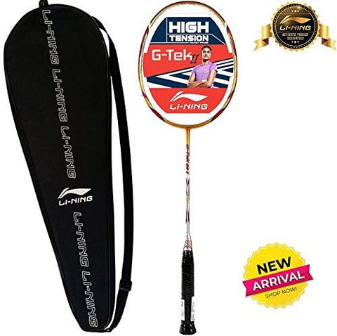 Li-Ning G-Tek 98 II Strung Badminton Racquet with Full Cover - Gold/Grey - Best Price online Prokicksports.com