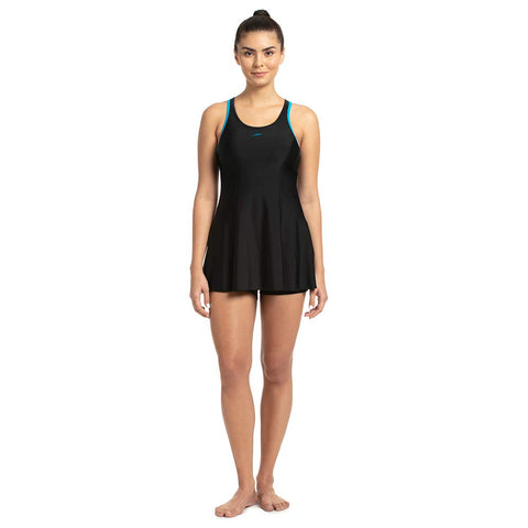Speedo 802878D748 Racerback Swimdress with Boyleg, (Black - Nordic Teal) - Best Price online Prokicksports.com