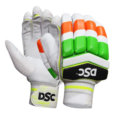 DSC Condor Motion Leather Cricket Batting Gloves, Youth Right (Orange White) - Prokicksports.com